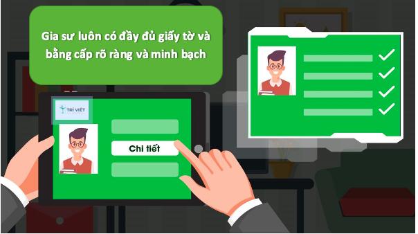 Trung tâm gia sư Trí Việt cam kết luôn có đầy đủ giấy tờ và bằng cấp