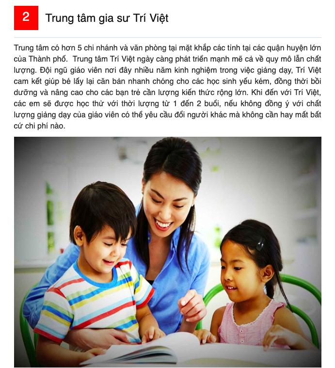 Đứng TOP 2 trong List Trung tâm gia sư uy tín nhất Hồ Chí Minh