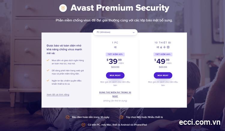 Key Avast Premier hay Avast Premium Security bản quyền chính chủ có giá từ 40$ - 70$ / năm