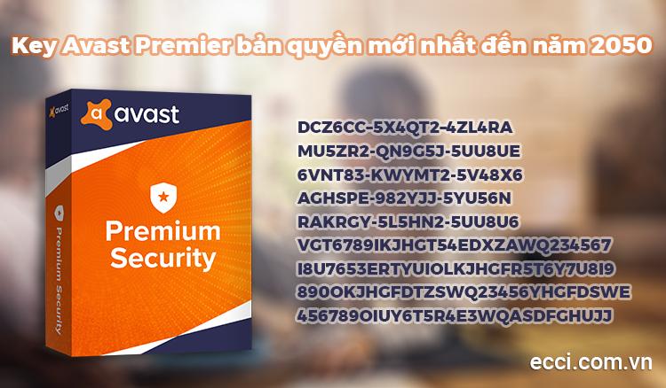 Key Avast Premier bản quyền mới nhất đến năm 2050