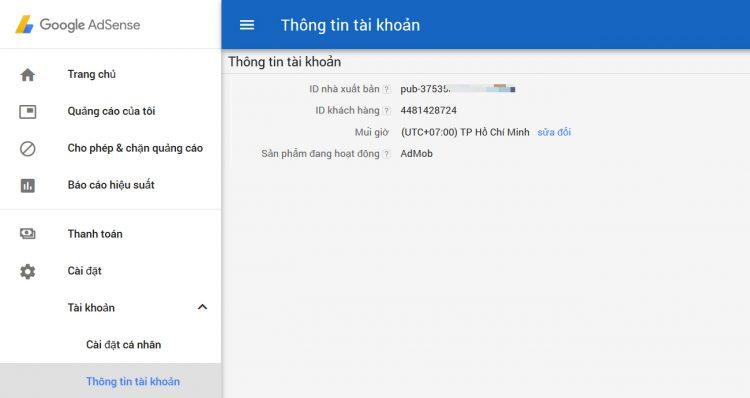 Tài khoản Google Adsense