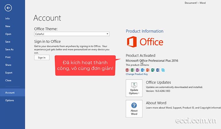 Kích hoạt bản quyền Microsoft Office 2016 thành công