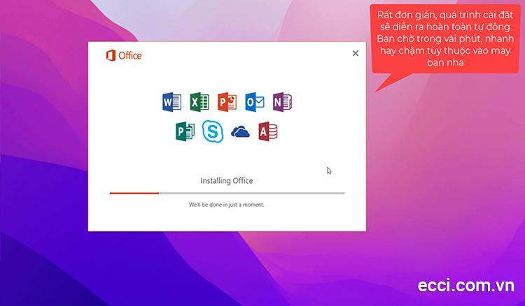 Quá trình cài đặt office 2016 sẽ hoàn toàn tự động