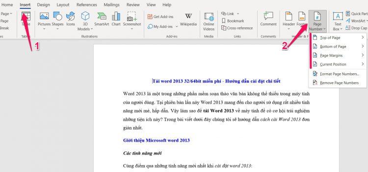Cách đánh số trang cho word 2013